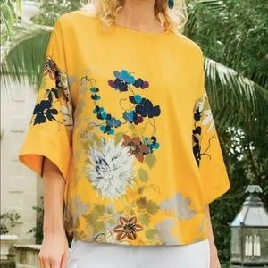 Soft surroundings yellow floral top size L